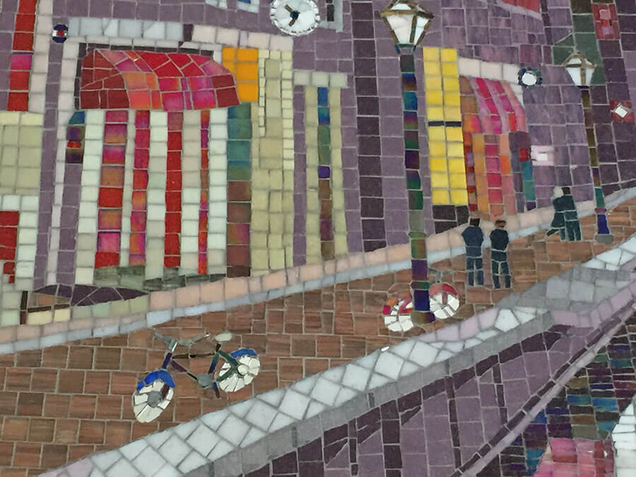 Red Light District Amsterdam mosaic by Terry Broderick