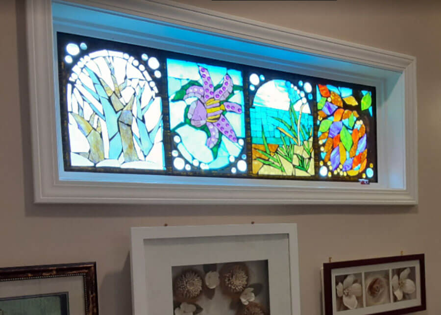 Glass-on-Glass Mosaic Window by art therapist Ellis Eisener installed