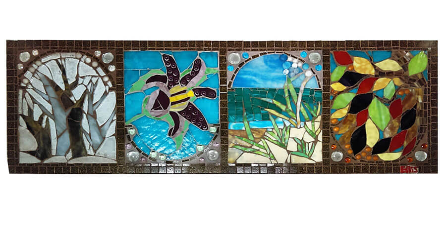 Glass-on-Glass Mosaic Window by art therapist Ellis Eisener pre-installation