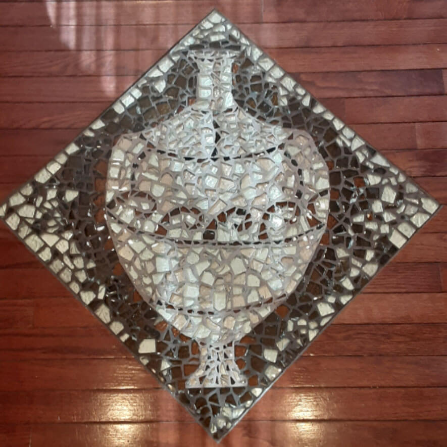 Mosaic Floor Medallion Insert by art therapist Ellis Eisener