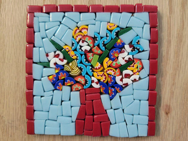 Broken Millefiori Bouquet Mosaic Coaster Before Grouting.