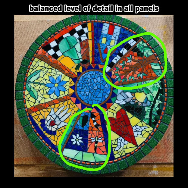Mosaic Lazy Susan has similar level of complexity between panel designs.