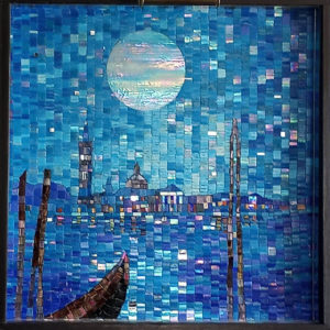 Blue Venice Mosaic by Terry Broderick, iridescent view.