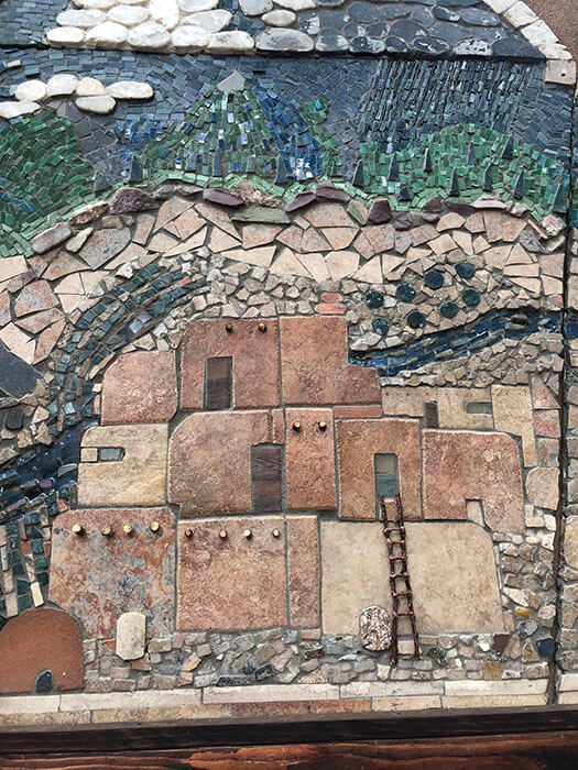 Dwellings detail from Mixed-Media Mosaic Plaque by Mollie Seymour