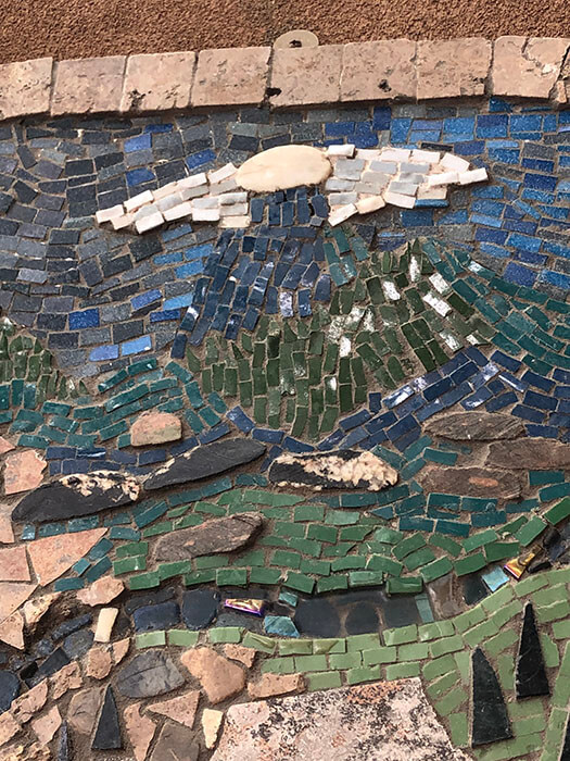 Sky detail from Mixed-Media Mosaic Plaque by Mollie Seymour