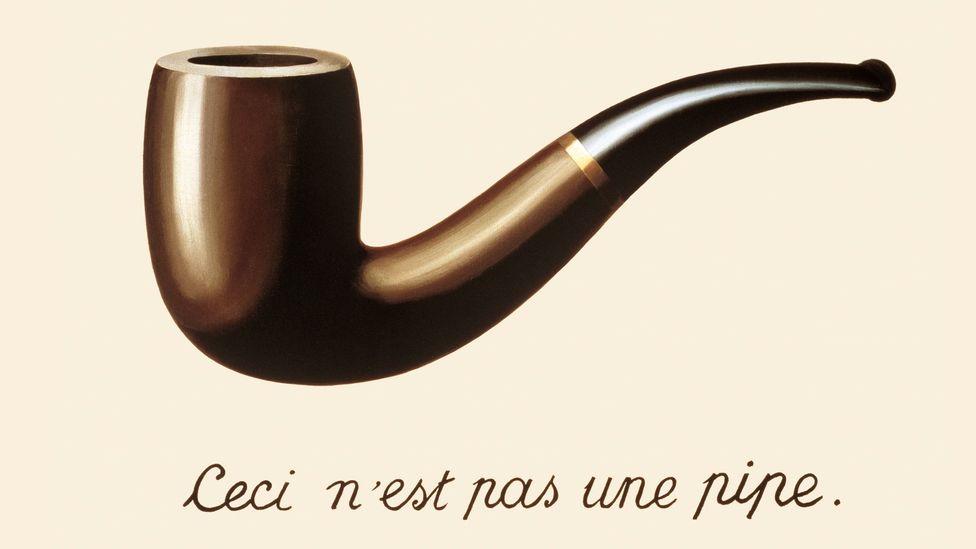 The Treachery of Images by Belgian surrealist painter René Magritte, 1929.