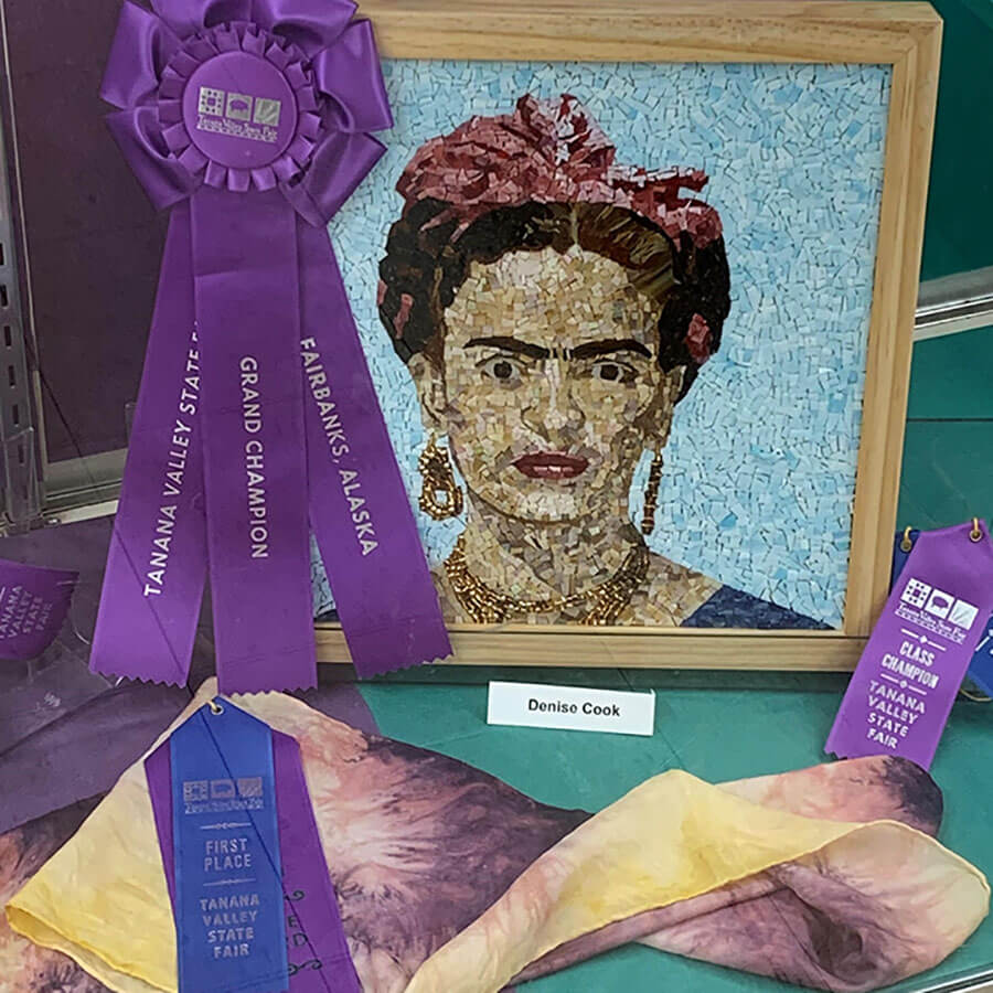 Frida Kahlo mosaic portrait by Denise Herzog award