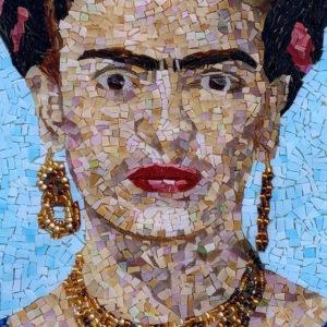 Frida Kahlo mosaic portrait by Denise Herzog detail 1