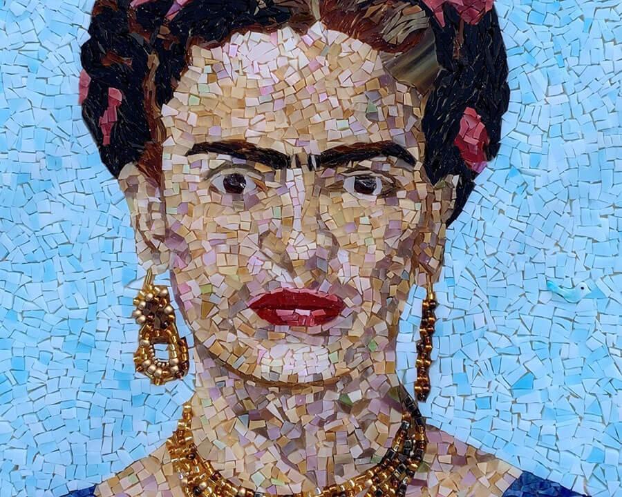 Frida Kahlo mosaic portrait by Denise Herzog detail 2