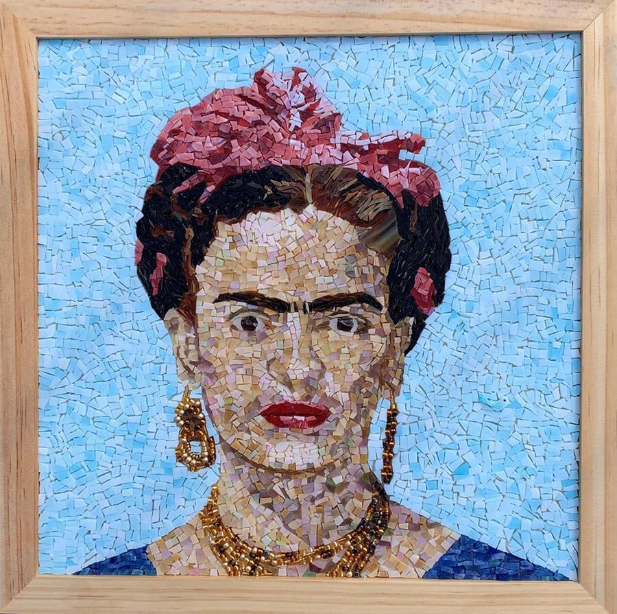 Frida Kahlo mosaic portrait by Denise Herzog framed