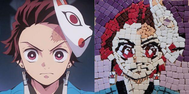 Mosaic with original Tanjiro from the Japanese manga series Demon Slayer: Kimetsu no Yaiba by Koyoharu Gotouge.