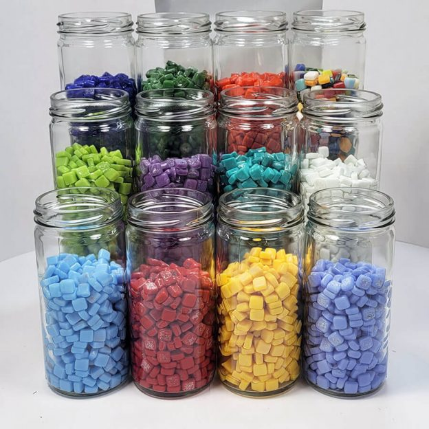 Mosaic Tile Studio Display Jars group photo with 8mm Morjo glass